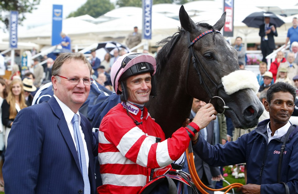 Mecca's Angel and Paul Mulrennan with trainer Michael Dodds