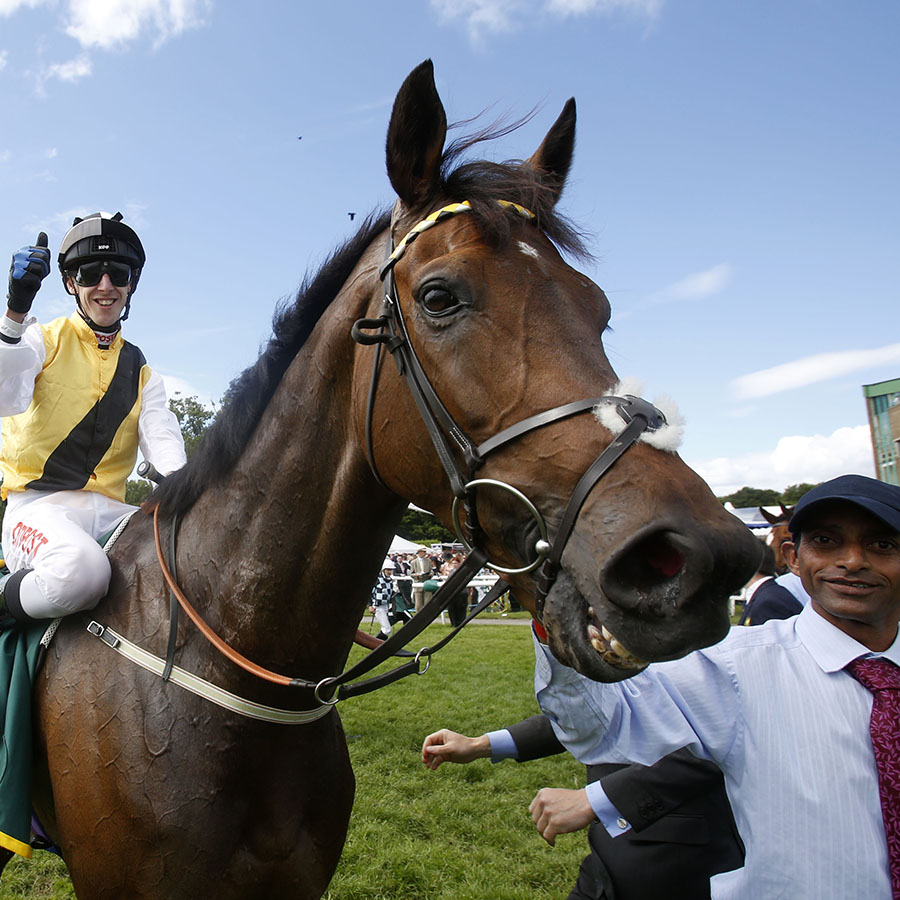 "Quest For More and George Baker after winning The John Smith's Northumberland Plate Newcastle 27.6.15 Pic Dan Abraham-racingfotos.com  THIS IMAGE IS SOURCED FROM AND MUST BE BYLINED ""RACINGFOTOS.COM"""