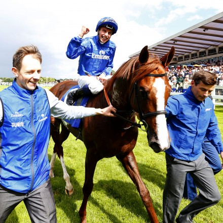 "Hawkbill and William Buick after winning The Coral-Eclipse  Sandown 2.7.16 Pic Dan Abraham-racingfotos.com  THIS IMAGE IS SOURCED FROM AND MUST BE BYLINED ""RACINGFOTOS.COM"""