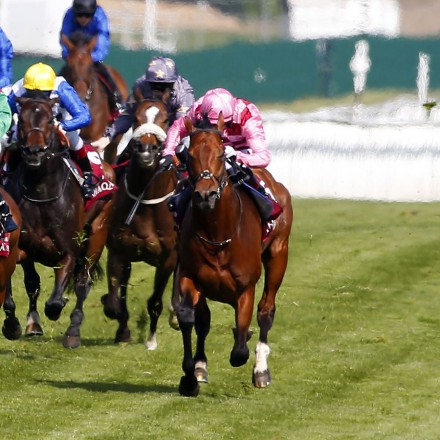 "Belardo and Andrea Atzeni (white cap right) winning The Al Shaqab  Lockinge Stakes  Newbury 14.5.16 Pic Dan Abraham-racingfotos.com  THIS IMAGE IS SOURCED FROM AND MUST BE BYLINED ""RACINGFOTOS.COM"""
