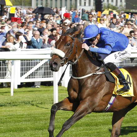 """Ribchester and James Doyle beat Log Out Island in the Dubai Duty Free Mill Reef Stakes at Newbury. 19/9/2015 Pic Steve Davies/Racingfotos.com  THIS IMAGE IS SOURCED FROM AND MUST BE BYLINED """"RACINGFOTOS.COM"""""""
