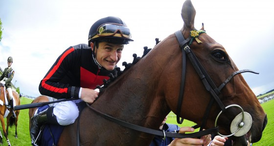 "CURRAGH 22-5-2016. Tattersalls Irish 1000 Guineas. A delighted Shane Foley and gives JET SETTING a kiss after their win. Photo Healy Racing / Racingfotos.com  THIS IMAGE IS SOURCED FROM AND MUST BE BYLINED ""RACINGFOTOS.COM"""