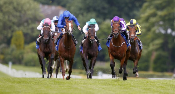 """Hawkbill and William Buick (blue) winning The Coral-Eclipse from The Gurkha Sandown 2.7.16 Pic Dan Abraham-racingfotos.com  THIS IMAGE IS SOURCED FROM AND MUST BE BYLINED """"RACINGFOTOS.COM"""""""