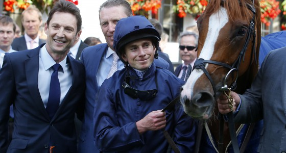 """Alice Springs and Ryan Moore after winning The Tattersalls 250th Year Falmouth Stakes Newmarket 8.7.16 Pic Dan Abraham-racingfotos.com  THIS IMAGE IS SOURCED FROM AND MUST BE BYLINED """"RACINGFOTOS.COM"""""""