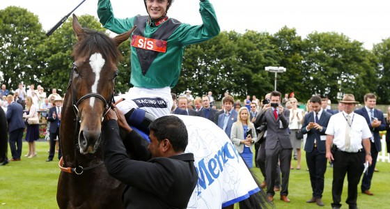 """Limato and Harry Bentley after winning The Darley July Cup  Newmarket 9.7.16 Pic Dan Abraham-racingfotos.com  THIS IMAGE IS SOURCED FROM AND MUST BE BYLINED """"RACINGFOTOS.COM"""""""