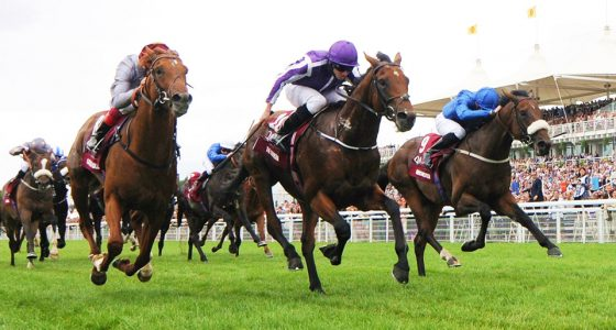 """The Gurkha and Ryan Moore [centre] beats Galileo Gold [left] and Ribchester in the Qatar Sussex Stakes at Goodwood. 27/7/2016 Pic Steve Davies/Racingfotos.com  THIS IMAGE IS SOURCED FROM AND MUST BE BYLINED """"RACINGFOTOS.COM"""""""