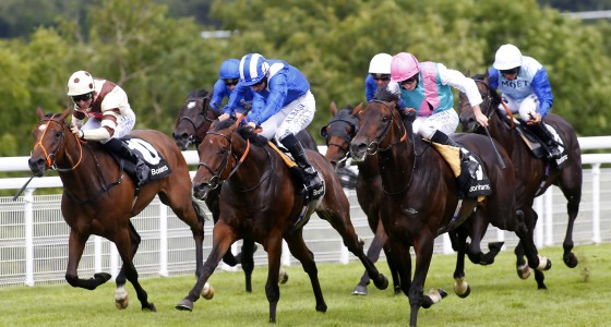 """Thikriyaat and Paul Hanagan (blue and white cap) winning The Bonhams Thoroughbred Stakes from Forge (pink cap) Goodwood 28.7.16 Pic Dan Abraham-racingfotos.com  THIS IMAGE IS SOURCED FROM AND MUST BE BYLINED """"RACINGFOTOS.COM"""""""
