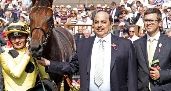 """POSTPONED (Andrea Atzeni) with Roger Varian and Sheikh Obaid Al Maktoum after The Juddmonte International Stakes York 17 Aug 2016 - Pic Steven Cargill / Racingfotos.com  THIS IMAGE IS SOURCED FROM AND MUST BE BYLINED """"RACINGFOTOS.COM"""""""
