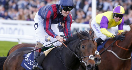 """The Tin Man and Tom Queally (dark blue cap) winning The Qipco British Champions Sprints Stakes Ascot 15.10.16 Pic Dan Abraham-racingfotos.com  THIS IMAGE IS SOURCED FROM AND MUST BE BYLINED """"RACINGFOTOS.COM"""""""