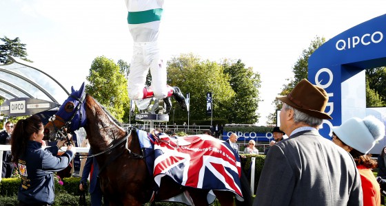 """Journey and Frankie Dettori  after winning The Qipco British Champions Fillies & Mares Stakes Ascot 15.10.16 Pic Dan Abraham-racingfotos.com  THIS IMAGE IS SOURCED FROM AND MUST BE BYLINED """"RACINGFOTOS.COM"""""""