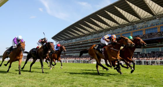 """Ervedya and Christophe Soumillon (green and red) winning The Coronation Sakes from Found (blue and orange) Royal Ascot 19.6.15 Pic Dan Abraham-racingfotos.com  THIS IMAGE IS SOURCED FROM AND MUST BE BYLINED """"RACINGFOTOS.COM"""""""