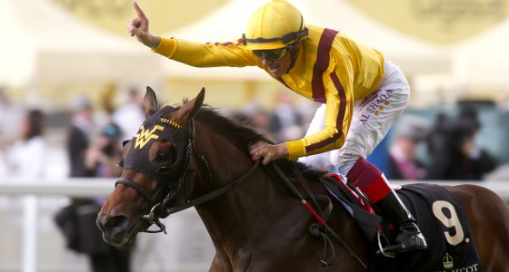 """Lady Aurelia and Frankie Dettori winning The Queen Mary Stakes  Royal Ascot 15.6.16 Pic Dan Abraham-racingfotos.com  THIS IMAGE IS SOURCED FROM AND MUST BE BYLINED """"RACINGFOTOS.COM"""""""