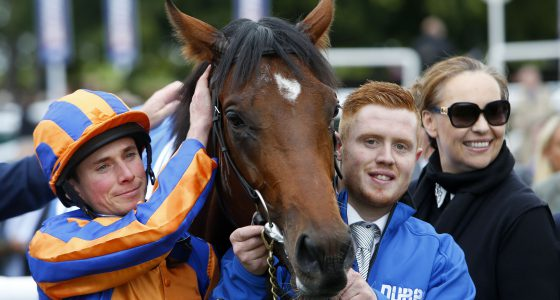 "Churchill and Ryan Moore after winning The Dubai Dewhurst Stakes  Newmarket 8.10.16 Pic Dan Abraham-racingfotos.com  THIS IMAGE IS SOURCED FROM AND MUST BE BYLINED ""RACINGFOTOS.COM"""